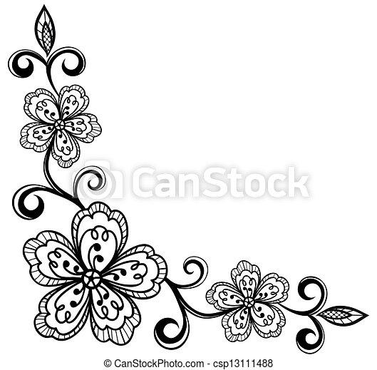 sarok, flowers., bla, befűz, díszítő - csp13111488