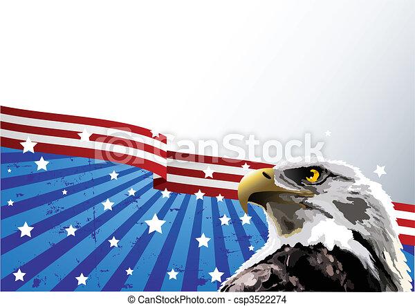 sas, kopasz, american lobogó - csp3522274