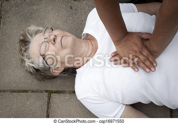 segély, nő, öreg, felfogó, erdei fenyők - csp16971550