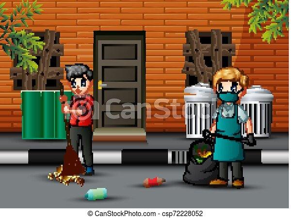 seprű, feláll, takarítás, gondnok, karikatúra, út, ember - csp72228052