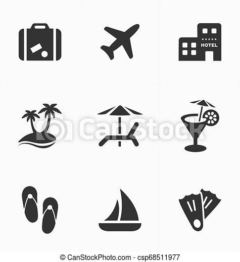 set., ikonok, utazás, szünidő, cégtábla - csp68511977