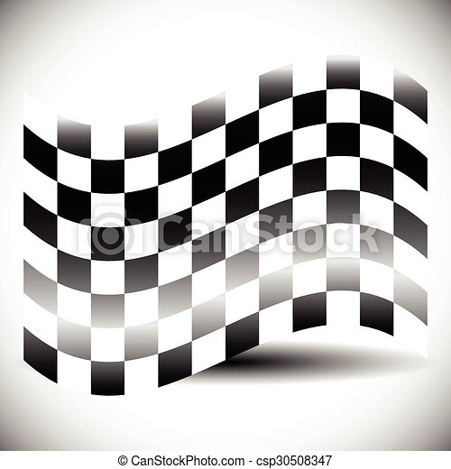shadow., elvont, checkered lobogó, fehér - csp30508347