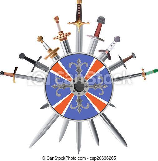 shields., crosswise, kard, kereszt - csp20636265