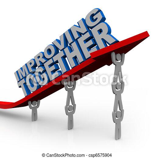 siker, együtt, emelések, növekedés, nyíl, befog, javuló - csp6575904
