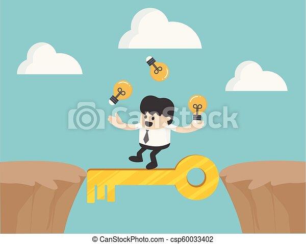 siker, kereszt, ábra, kulcs, üzletember, szirt - csp60033402