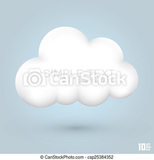 sima, felhő, ikon - csp25384352