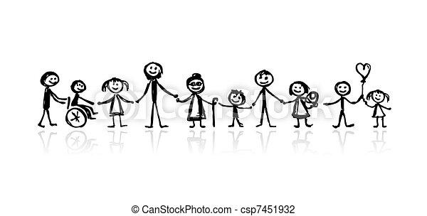 skicc, tervezés, -e, család, együtt - csp7451932
