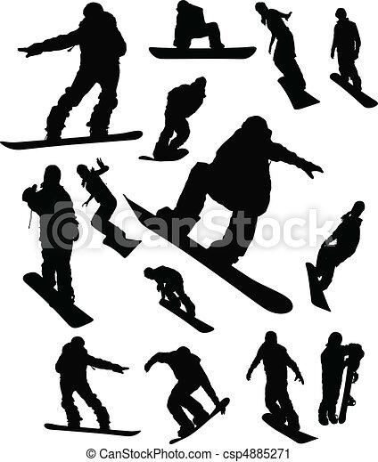 snowboarder, ember, állhatatos, árnykép - csp4885271