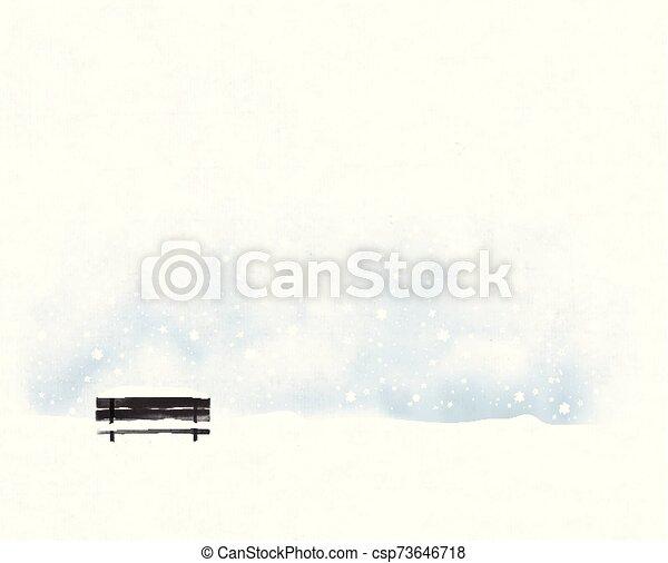 snowfall., táj, vektor, minimalista, bírói szék, öreg, fekete, mód, tél, ábra - csp73646718