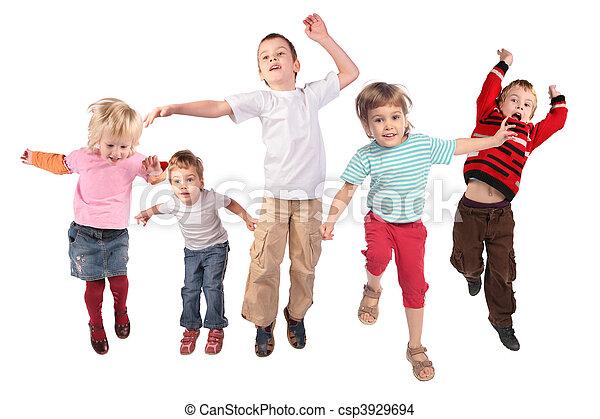 sok, fehér, ugrás, gyerekek - csp3929694