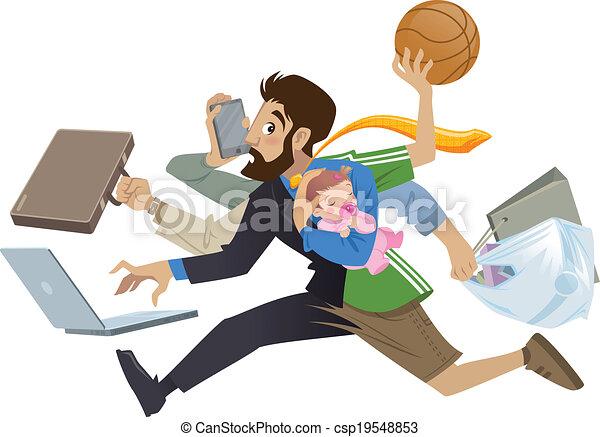 sok, szuper, elfoglalt, karikatúra, ember, egyszerre több feladatot ellátni képes, atya, művek - csp19548853