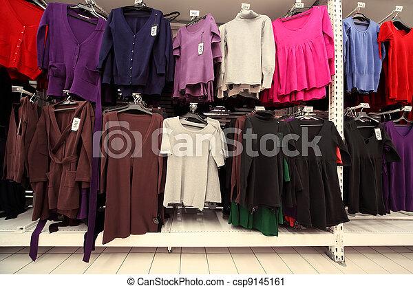 sokszínű, öltözet, mez, sweatshirts, nők, belső, bolt, nagy - csp9145161