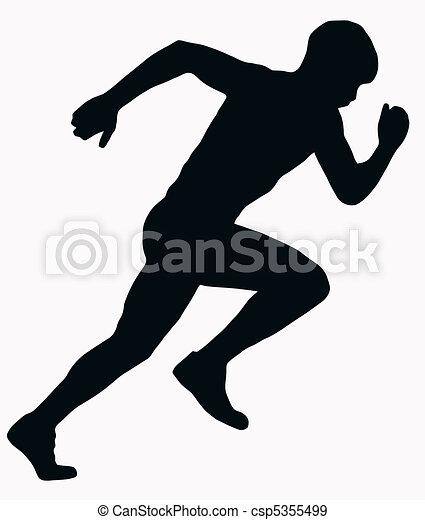 sport, atléta, hím, -, sprintel, árnykép - csp5355499