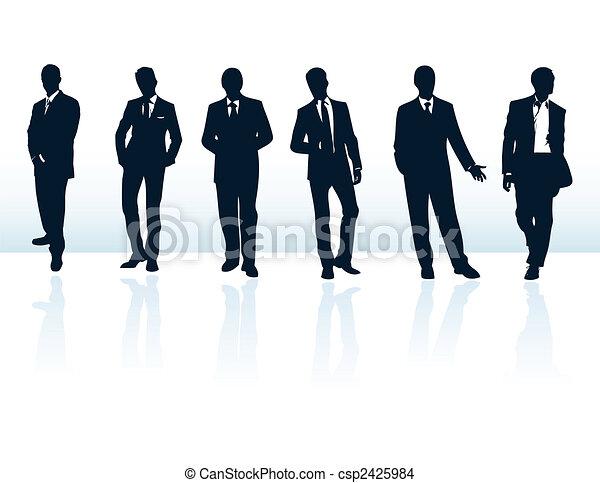 suits., több, üzletember, kék, körvonal, az enyém, állhatatos, vektor, sötét, gallery. - csp2425984