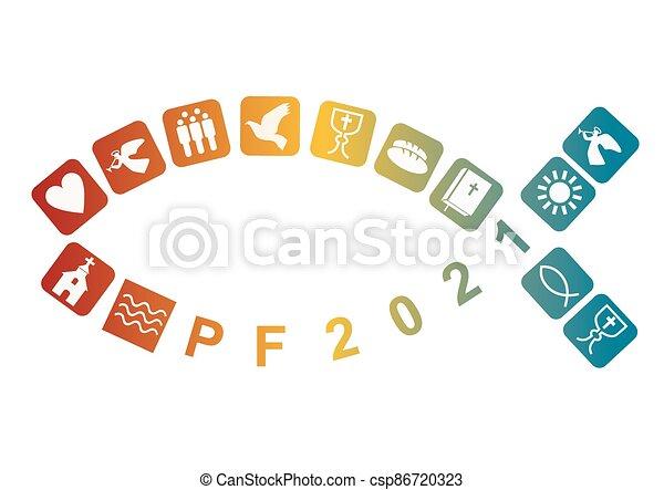 symbols., új, boldog, év, jézus, keresztény, jelkép - csp86720323