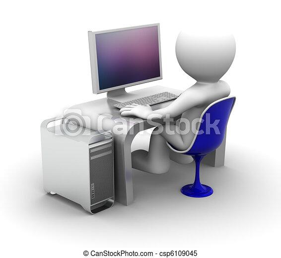 számítógép, betű, dolgozó, 3 - csp6109045