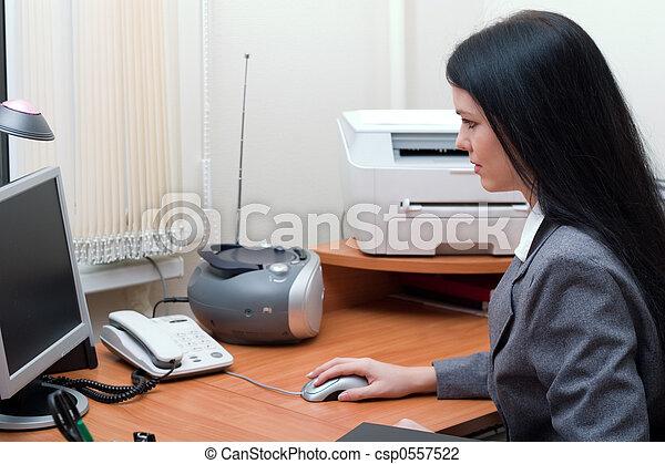 számítógép, dolgozó - csp0557522