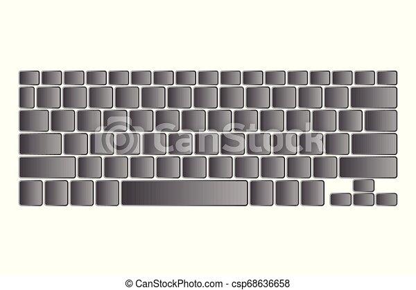 számítógép, elszigetelt, ábra, vektor, háttér, billentyűzet, fehér - csp68636658