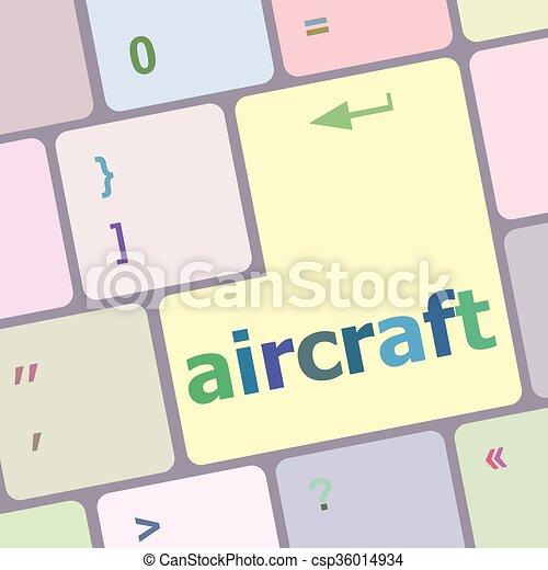 számítógép, gombol, beír, ábra, repülőgép, vektor, kulcs, billentyűzet - csp36014934