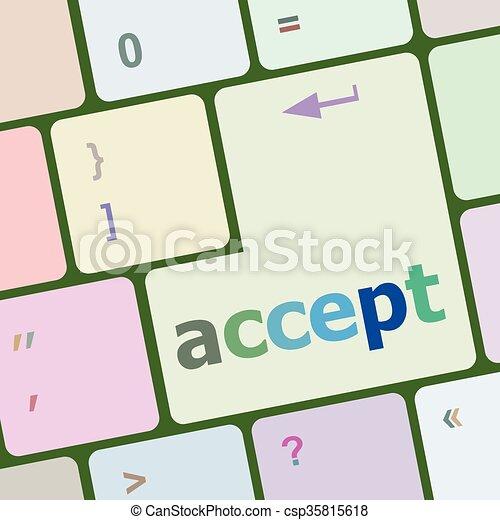 számítógép, gombol, beír, ábra, vektor, elfogad, kulcs, billentyűzet - csp35815618