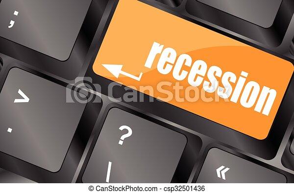 számítógép, gombol, kulcs, ábra, gazdasági pangás, vektor, billentyűzet - csp32501436