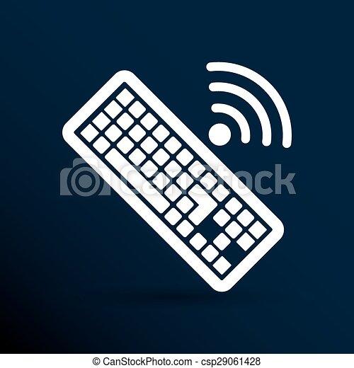 számítógép, illustration., aláír, vektor, kulcs, billentyűzet, ikon - csp29061428