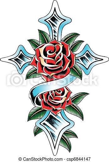 szárny, szalag, rózsa, kereszt - csp6844147