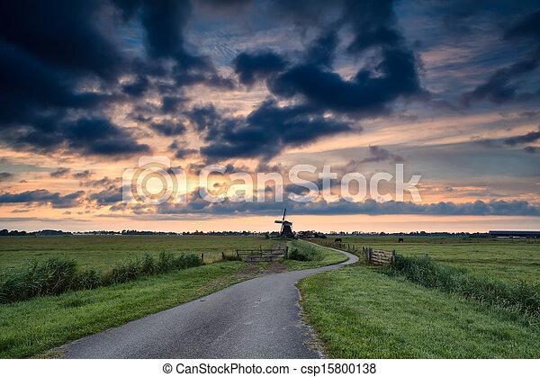 szélmalom, út, bicikli, hollandia, napkelte - csp15800138