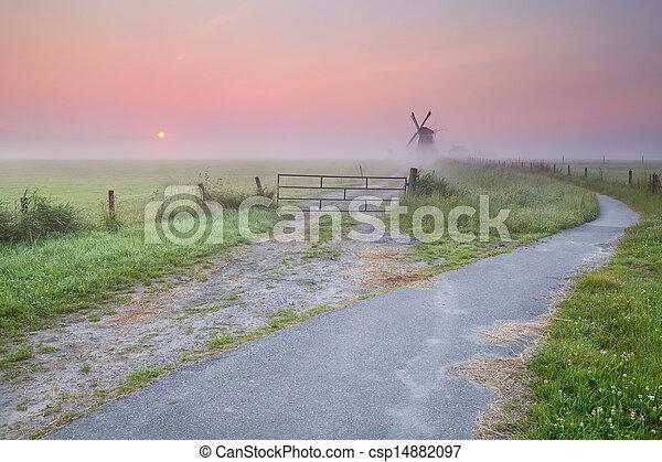 szélmalom, köd, bicikli, út - csp14882097
