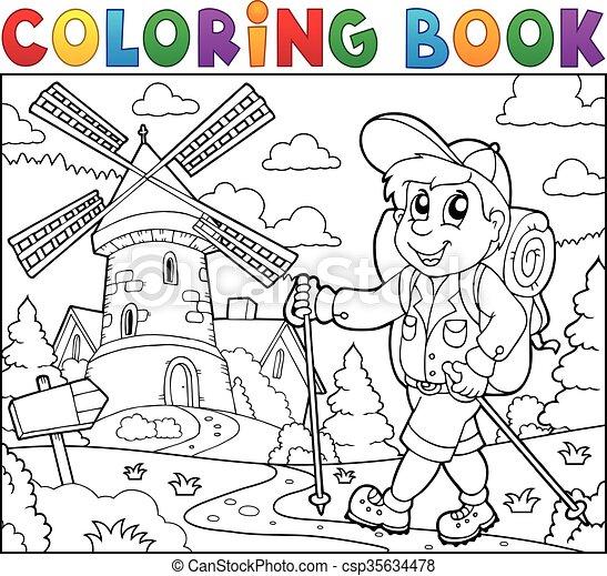 szélmalom, könyv, kiránduló, színezés - csp35634478