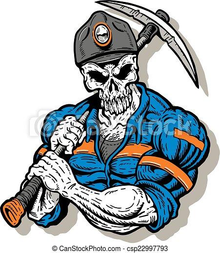 szén bányász, koponya, arc - csp22997793