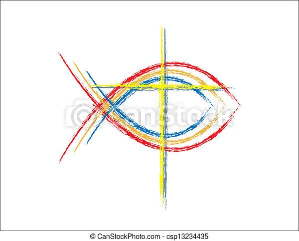 szín, grunge, fish, keresztény, jelkép - csp13234435