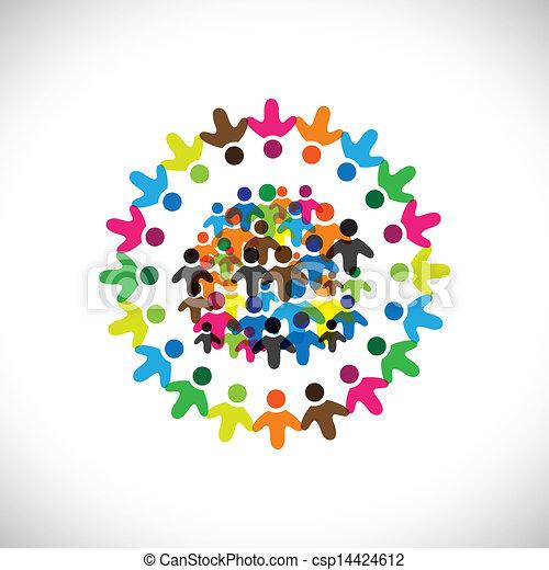 színes, fogalom, közösség, játék, barátság, munkavállaló, emberek, társadalmi, vektor, &, kapcsolódások, változatosság, őt előad, osztozás, icons(signs)., hálózat, gyerekek, munkás, ábra, graphic-, szeret, fogalom, s a többi - csp14424612