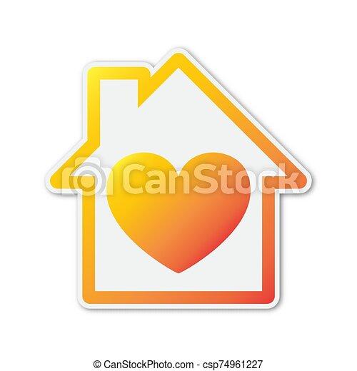 színes, ikon, alakzat., épület, vektor, szív - csp74961227