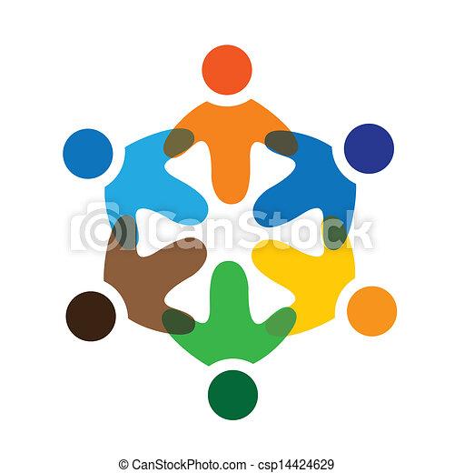 színes, játék, fogalom, közösség, játék, barátság, munkavállaló, vektor, gyerekek, &, izbogis, kapcsolódások, változatosság, őt előad, osztozás, icons(signs)., munkás, gyerekek, ábra, graphic-, szeret, fogalom, s a többi - csp14424629