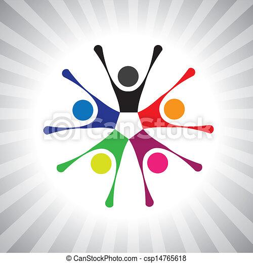 színes, közösség, haverkodik, is, játék, móka, vibráló, egyszerű, friendship-, birtoklás, vektor, gyerekek, misét celebráló, graphic., konzerv, összejövetel, izgatott, gyerekek, ábra, emberek, ábrázol, ez - csp14765618