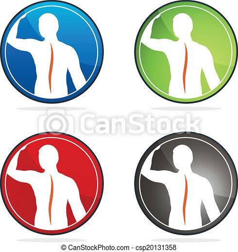 színes, oszlop, designs., gyűjtés, aláír, gerinc-, egészség, emberi - csp20131358