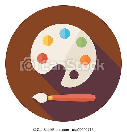 színes, paletta, ikon, karika, árnyék, ecset, lakás, hosszú - csp29202718