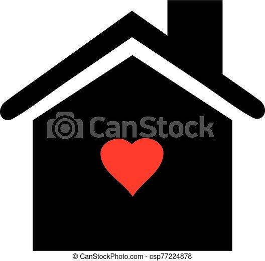 szív, épület icon - csp77224878