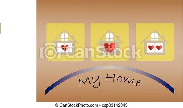 szív, épület, vektor, ikon - csp33142343