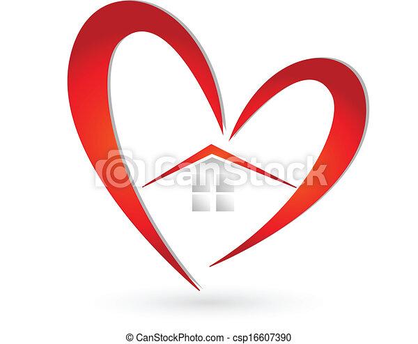 szív, épület, vektor, jel - csp16607390