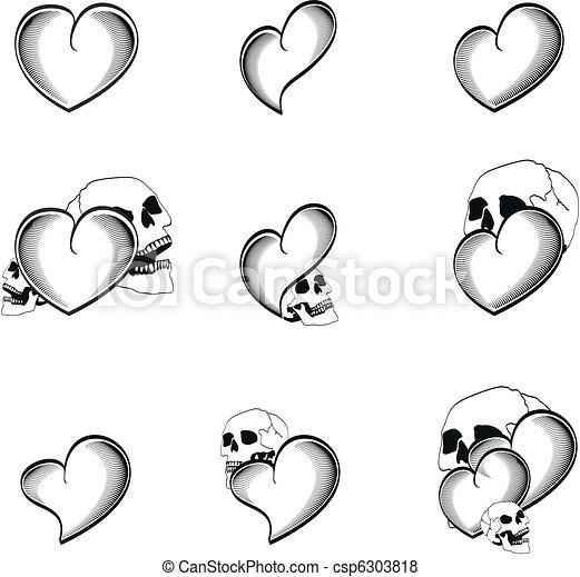szív, 4, koponya, tetovál - csp6303818