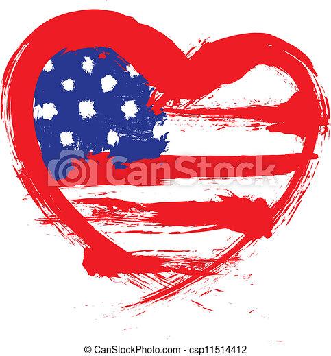 szív alakzat, american lobogó - csp11514412