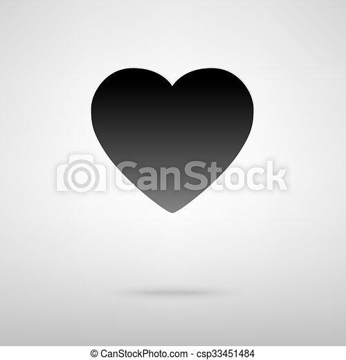 szív, fekete, ikon - csp33451484