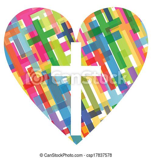 szív, fogalom, poszter, elvont, kereszt, ábra, kereszténység, vallás, vektor, háttér, mózesi - csp17837578