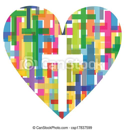 szív, fogalom, poszter, elvont, kereszt, ábra, kereszténység, vallás, vektor, háttér, mózesi - csp17837599