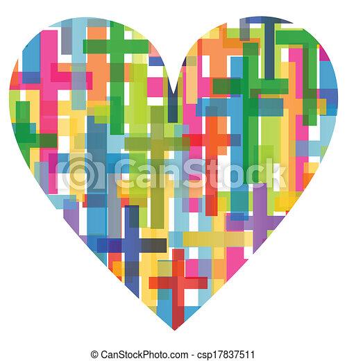 szív, fogalom, poszter, elvont, kereszt, ábra, kereszténység, vallás, vektor, háttér, mózesi - csp17837511