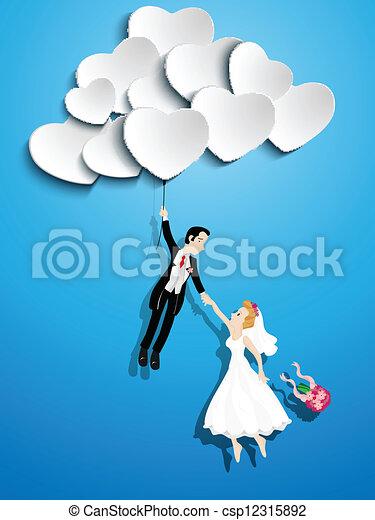 szív, házas, igazságos, alakú, párosít, repülés, balloon - csp12315892