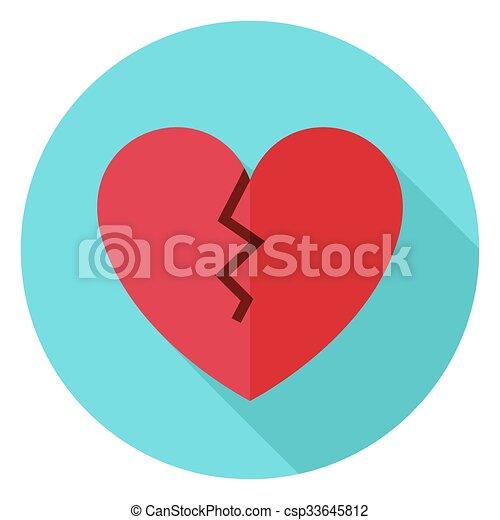 szív, hosszú, törött kerület, árnyék, ikon - csp33645812