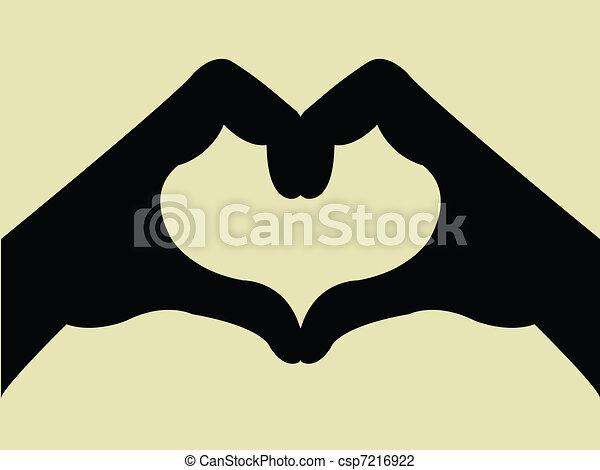 szív, kezezés gesztus, alakít - csp7216922